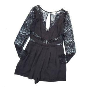 Keepsake Black Lace Detail Long Sleeve Romper